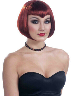 LOVELY WOMAN LADY SHORT BOB COSTUME WIG W// BANGS REDDISH BROWN BLACK AUBURN 1317