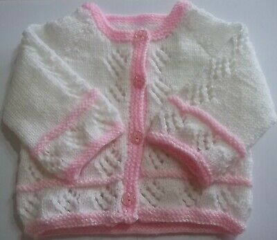 Hand Knit Baby Girl's White Cardigan With Pink Edge Size 0/3 Months