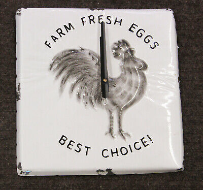 """New Farmers Market Rooster Motif 12 """" Kitchen Clock With Distressed Edges"""