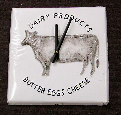 """New Dairy Products Cow Motif 12 """" Kitchen Clock With Distressed Edges"""