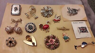 job lot of 15 vintage brooches