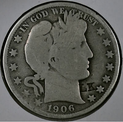 1906-S 50C Barber Half Dollar - About Good Cleaned Counterstamp