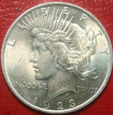 1923 Peace Silver Dollar , BU UNCIRCULATED , 90% Silver US Coin