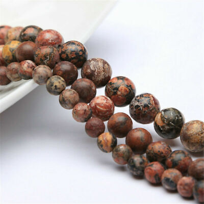 "Natural Leopard Skin Stone Round Spacer Stone Loose Beads 15.5"" 6/8/10/12mm"