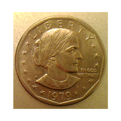 Uncirculated 1979-P SBA Susan B Anthony $1 Dollar Coin Wide