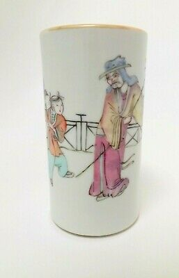 Antique Chinese Tongzhi 同志 1862-74 Period Paint Brush Pot Hand Painted