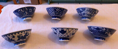 Anciens Bols En Porcelaine De Chine Decor Bleu Blanc, Lot De 6 Differents