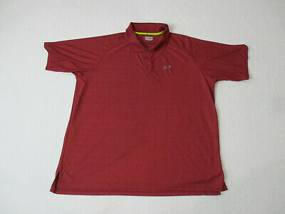 42ed9b5a4 Under Armour Polo Shirt Adult Extra Large Maroon Red Gray Golfer Dri Fit  Mens