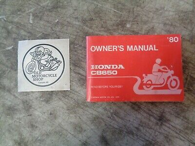 1980 Honda Cb 650 Owner's Manual With Holder