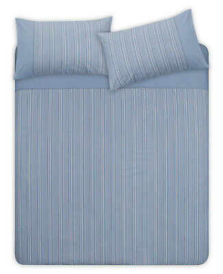 New Luxury Blue Striped Seersucker Duvet Cover Set With Pillow Cases All Sizes