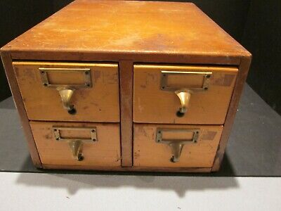 Old Vintage Wood 4 Drawer Gaylord Library Card Catalog Cabinet