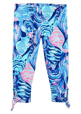 NEW Lilly Pulitzer Girls MAIA LEGGING Twilight Blue Scale Up Pink FISH  L XL