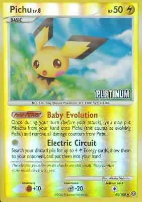 "1 x HP Pichu - 45/100 - Reverse Holo ""Platinum"" stamped Burger King Exclusive St"