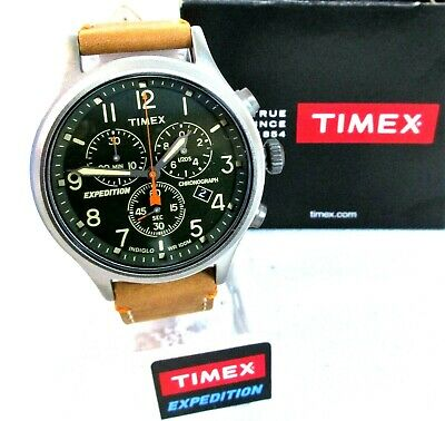 ca9f62dcf Timex Men's TW4B04400 Expedition Scout Chrono Tan/Green Leather Strap Watch  []