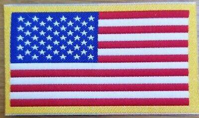 AMERICAN FLAG  PATCH iron-on GOLD BORDER USA US United States