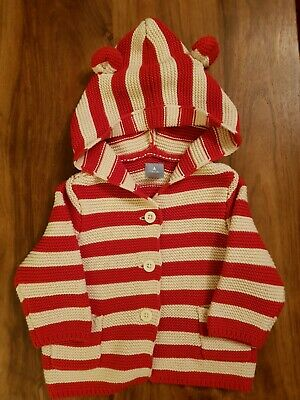 BABY GAP Baby Girls 3-6 Months Hooded Knitted Striped Cardigan (A218)