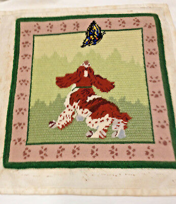 vtg Spaniel Puppy dog finished needlepoint butterfly unused pillow
