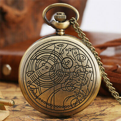 Steampunk Doctor Who Analog Quartz Pocket Watch Full Hunter Necklace Chain