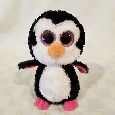 TY Beanie Boos - Pink Solid eyes-   Paddles the Penguin-  No Hang Tag