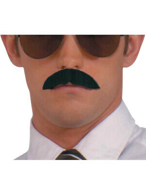 Black Zapata Moustache w// ADHESIVE Combo 70/'s 80/'s 100/% Human Hair  Style2016