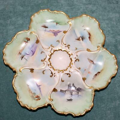 Antique Limoges Oyster Plate, Hand Painted Scenes in Wells, by Vultury Freres