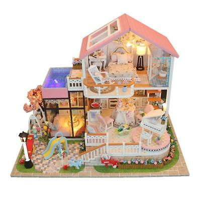 DIY Handmade Kids Doll House With Furniture & Staircase Fits Barbie Dollhouse