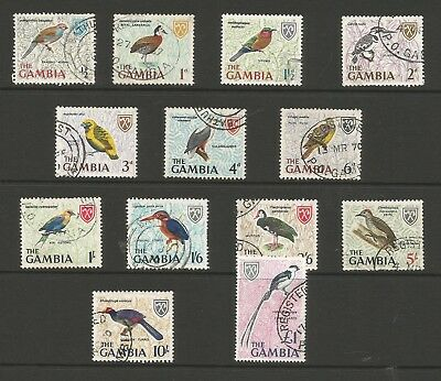 "The Gambia 1966 ""birds"" Set Of 13 Very Fine Used"