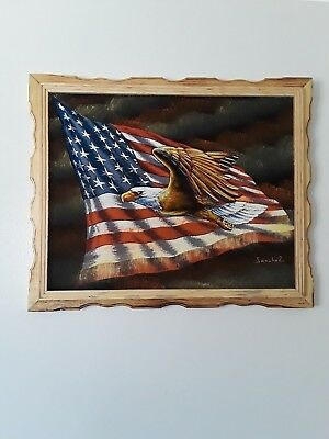 "AMERICAN EAGLE  , Hand Painted , VELVET PAINTING , 18"" BY 22"" W , FRAME , DECOR"