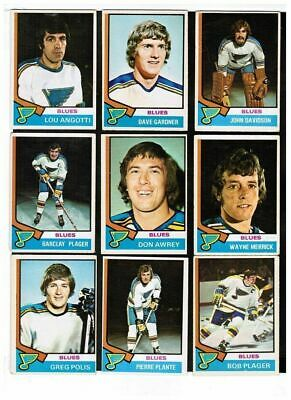 (17) diff 1974-75 O-Pee-Chee St-Louis Blues Hockey Card Lot w/ Davidson RC