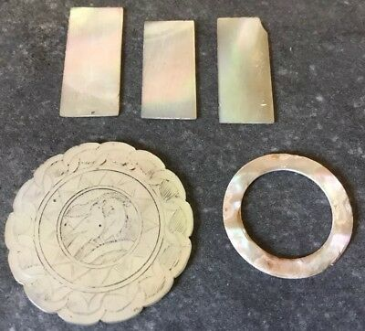 Antique Mother of Pearl Game Counters Chips Chinese ?