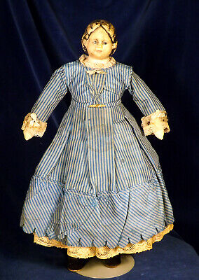 "Petite 16"" Antique 1858 Greiner Labeled Papier Mache Doll Antique Clothes"
