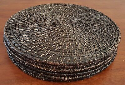 Set of 6 DARK BROWN Natural CANE Balinese Style 33cm ROUND PLACE MATS