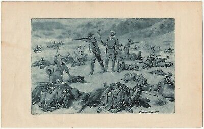 RARE Antique Print- 1897 George Armstrong Custer Battle Little Big Horn by Davis