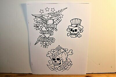 "Classic Designs Tattoo Flash 8.5"" X 11"" 5 Skull's and Eagle with a Dagger"