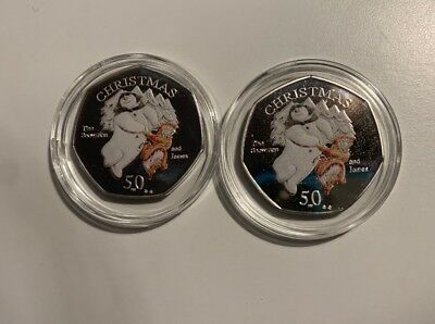 2003 & 2008 James And Snowman Coloured Souvenir 50p (isle Of Man Christmas Coin)