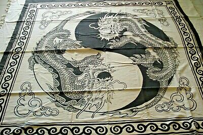 Chinese Dragon Ying Yang Cloth Banner White and Black