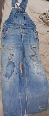 VTG DESTROYED 1940's 50's? OSHKOSH B 'GOSH SANFORIZED FARM WORK DENIM OVERALLS