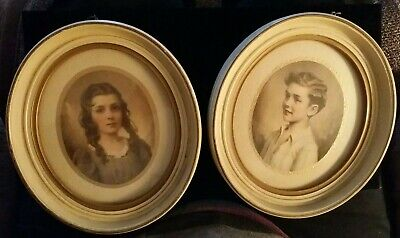 Antique set of 2 Miniature Portraits In Oval Frames