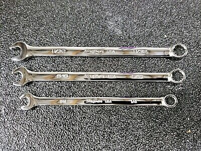 """NEW ADD-ON Snap-On 3pc 1/4"""", 5/16"""", 11/32"""" SAE Flank Drive PLUS Combo Wrenches"""