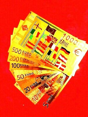 8  EURO ALBUM 24K GOLD COLOUR BANKNOTES BANK NOTE in  LIMITED SET