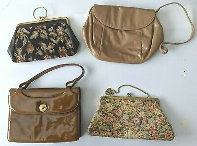 8448e0cc20 LOT OF 4 Vintage Handbags Purses Clutch Bag Brown Tapestry 60s 70s 80s -   5.00