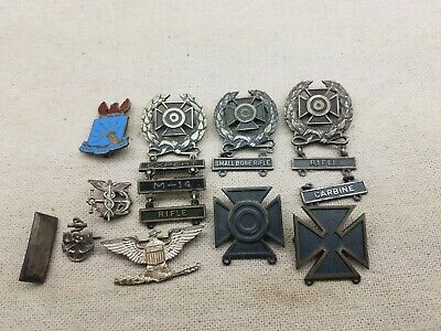 Large Lot of Vintage Sterling Silver WWII Pins
