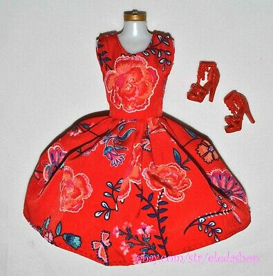 Classic Floral RED Dress & Shoes Set LOT for Barbie Doll