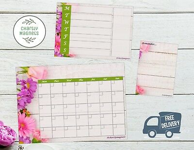 Floral Fridge Magnet Whiteboard Family Monthly Weekly Planner Calendar A3 A4 A5