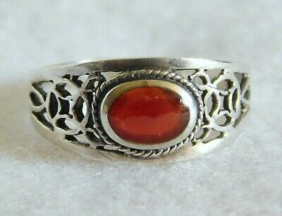 Beautiful Vintage 925 Sterling Silver Filigree Carnelian Ring Size 7