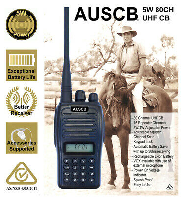 AUSCB 5W 80CH UHF CB Handheld - Australian Standards approved to CB and LMRS