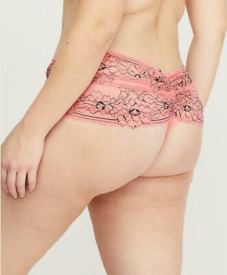 LB CACIQUE Cross-Dyed Floral Lace Wide-Side Thong Panty - Coral Pink - 22/24