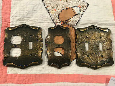 1960's - 70's American Tack Harware Antique Brass Finished Outlet Plate, Free Sh