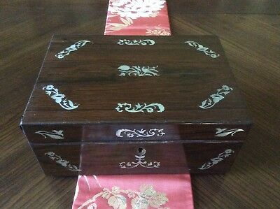 Antique Georgian Rosewood Mother Of Pearl Sewing Box