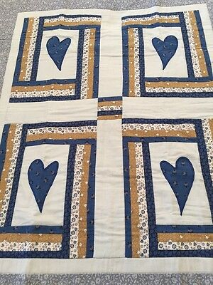 "Handmade patchwork quilt Small Hearts With Appliqué Size 34.5"" X 40"""